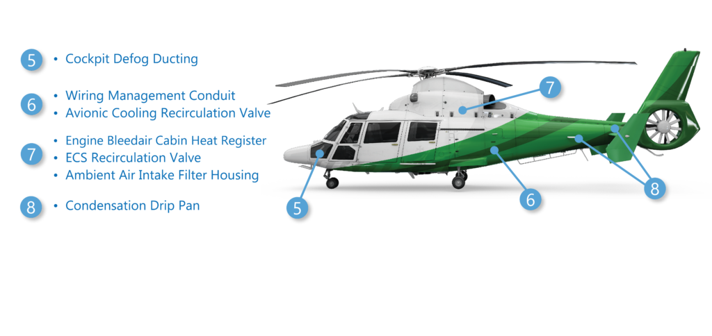 Thermoplastic interior components for helicopters